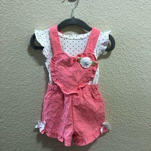 Little Lass Baby Girl Pink Bow Overalls & Shirt